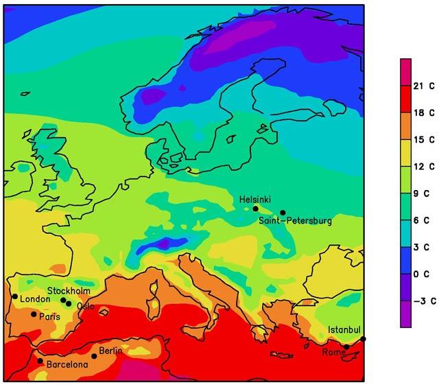 Klimakarte Europa2071