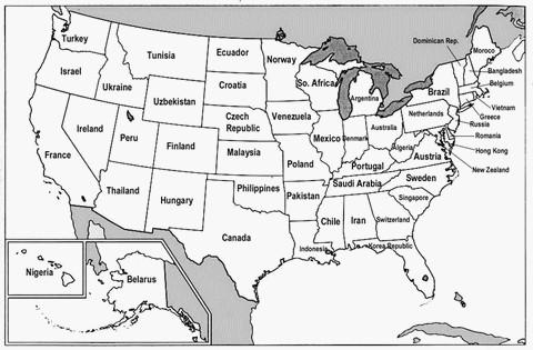 Amerika Karte Schwarz Weiß.Usa Karte Schwarz Weiß Creactie