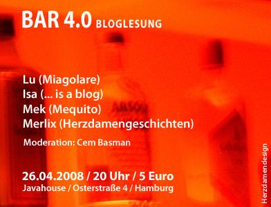 Bar 4.0 Bloglesung im <a href=